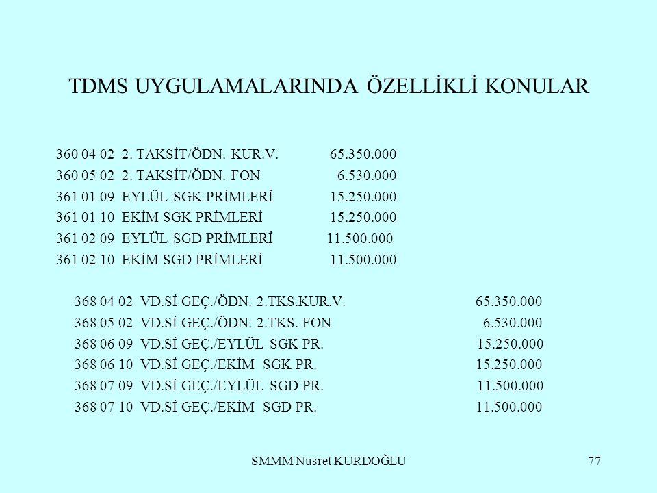 SMMM Nusret KURDOĞLU77 TDMS UYGULAMALARINDA ÖZELLİKLİ KONULAR 360 04 02 2.