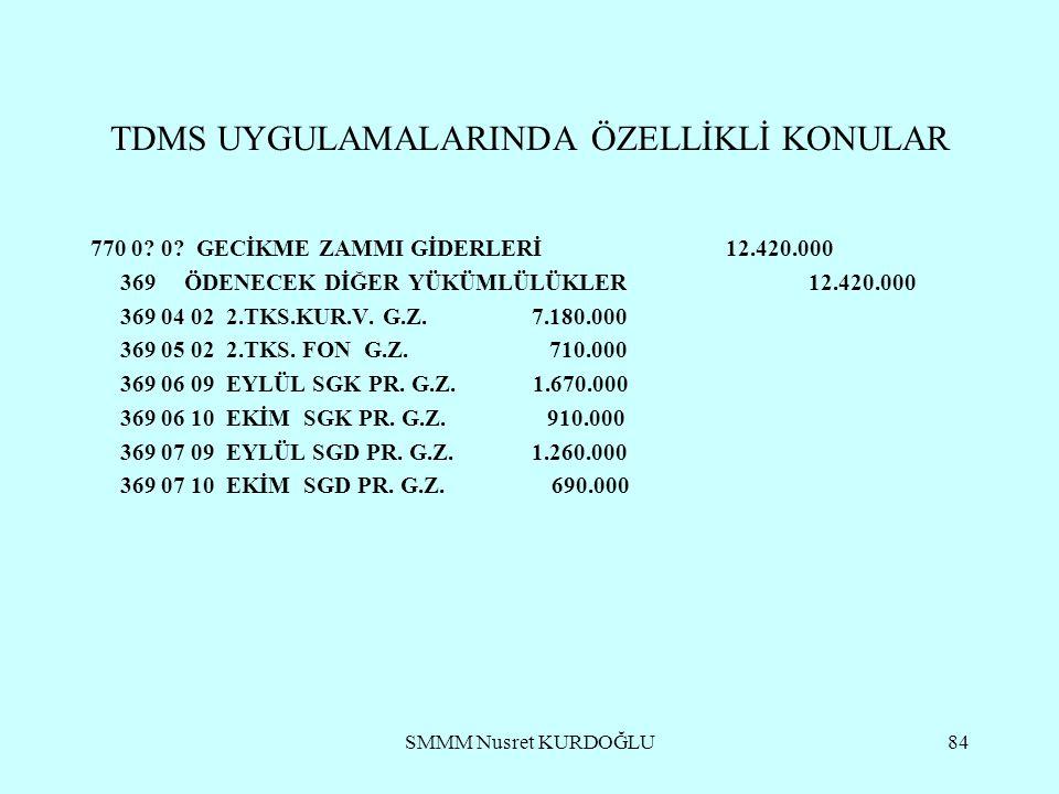 SMMM Nusret KURDOĞLU84 TDMS UYGULAMALARINDA ÖZELLİKLİ KONULAR 770 0.