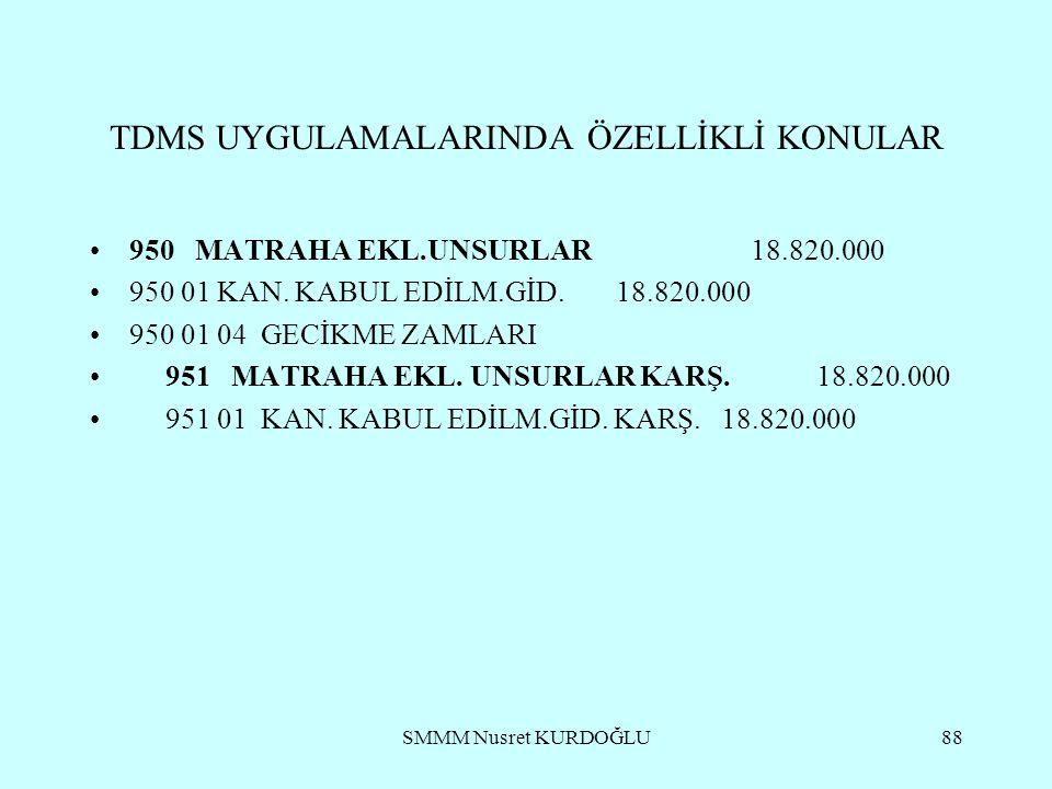 SMMM Nusret KURDOĞLU88 TDMS UYGULAMALARINDA ÖZELLİKLİ KONULAR 950 MATRAHA EKL.UNSURLAR 18.820.000 950 01 KAN.