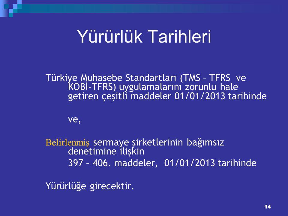 14 Yürürlük Tarihleri Türkiye Muhasebe Standartları (TMS – TFRS ve KOBİ-TFRS) uygulamalarını zorunlu hale getiren çeşitli maddeler 01/01/2013 tarihind