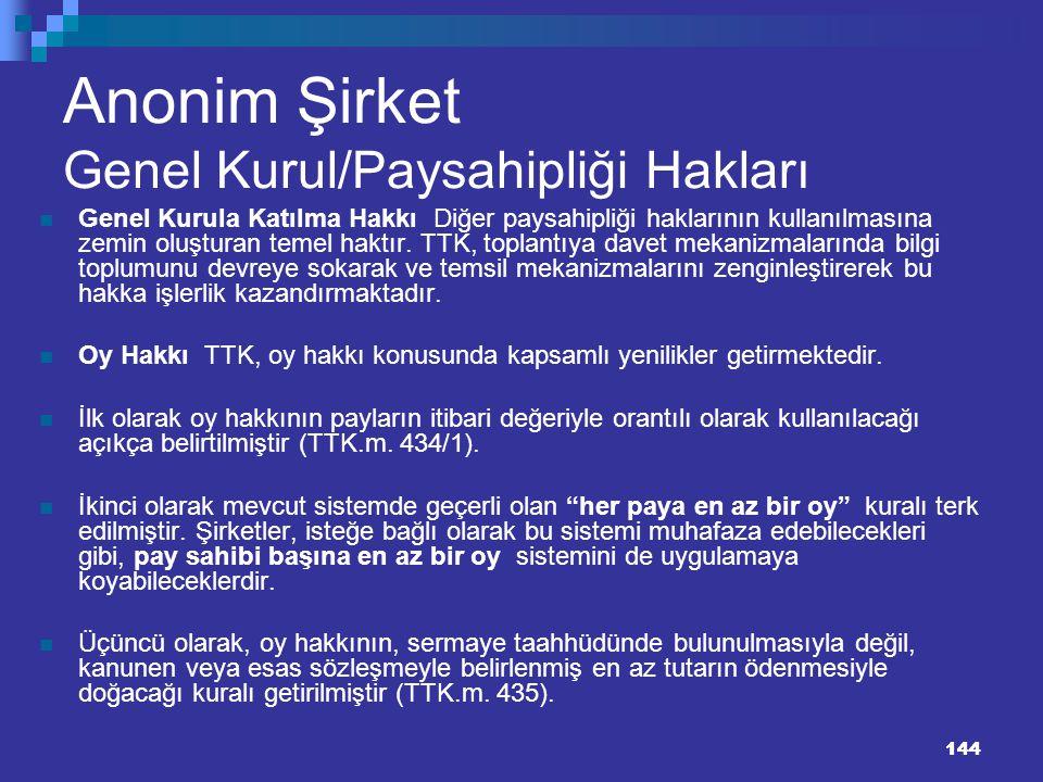 144 Anonim Şirket Genel Kurul/Paysahipliği Hakları Genel Kurula Katılma Hakkı Diğer paysahipliği haklarının kullanılmasına zemin oluşturan temel haktı
