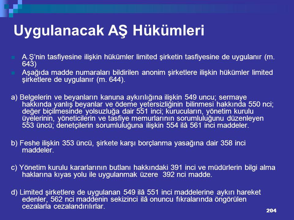 204 Uygulanacak AŞ Hükümleri A.Ş'nin tasfiyesine ilişkin hükümler limited şirketin tasfiyesine de uygulanır (m. 643) Aşağıda madde numaraları bildiril
