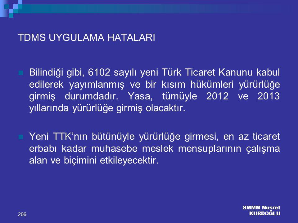SMMM Nusret KURDOĞLU 206 TDMS UYGULAMA HATALARI Bilindiği gibi, 6102 sayılı yeni Türk Ticaret Kanunu kabul edilerek yayımlanmış ve bir kısım hükümleri
