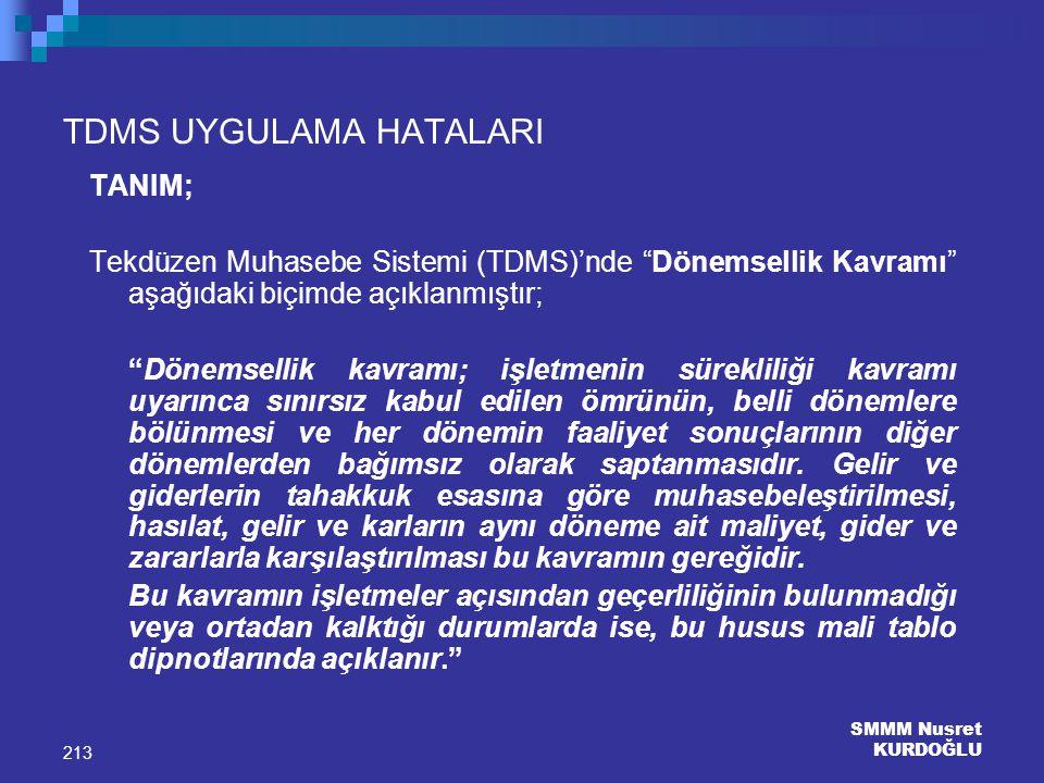 """SMMM Nusret KURDOĞLU 213 TDMS UYGULAMA HATALARI TANIM; Tekdüzen Muhasebe Sistemi (TDMS)'nde """"Dönemsellik Kavramı"""" aşağıdaki biçimde açıklanmıştır; """"Dö"""