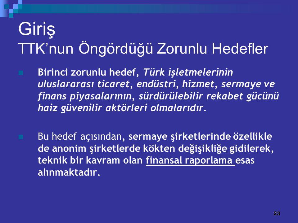 23 Giriş TTK'nun Öngördüğü Zorunlu Hedefler Birinci zorunlu hedef, Türk işletmelerinin uluslararası ticaret, endüstri, hizmet, sermaye ve finans piyas