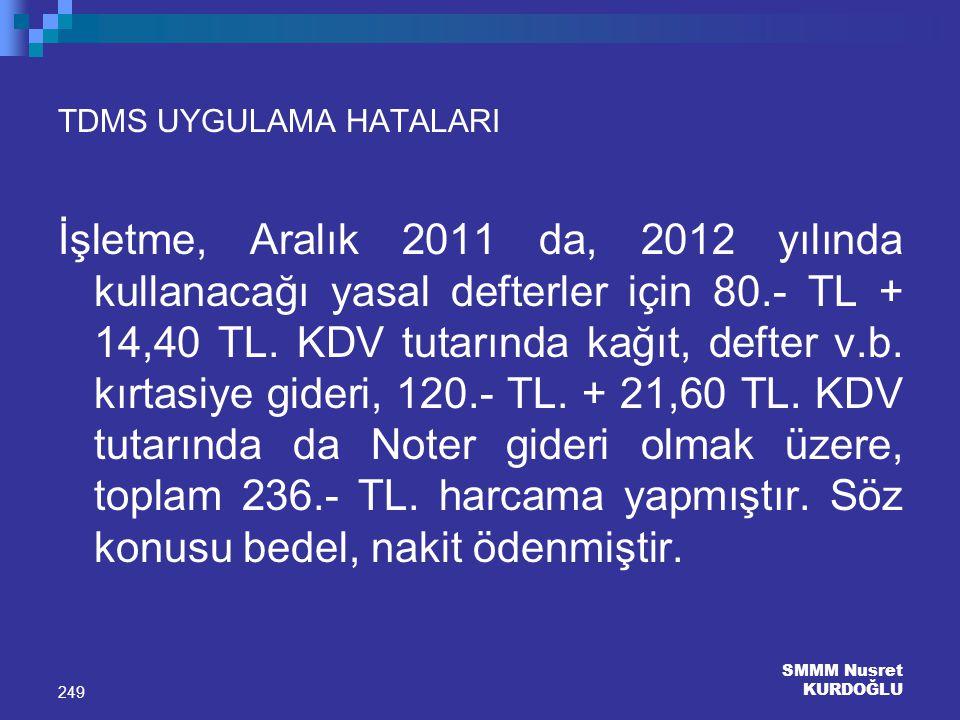 SMMM Nusret KURDOĞLU 249 TDMS UYGULAMA HATALARI İşletme, Aralık 2011 da, 2012 yılında kullanacağı yasal defterler için 80.- TL + 14,40 TL. KDV tutarın
