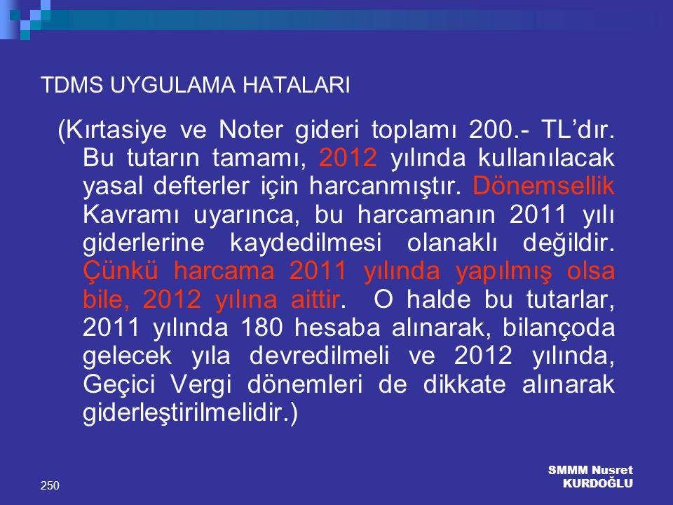 SMMM Nusret KURDOĞLU 250 TDMS UYGULAMA HATALARI (Kırtasiye ve Noter gideri toplamı 200.- TL'dır. Bu tutarın tamamı, 2012 yılında kullanılacak yasal de