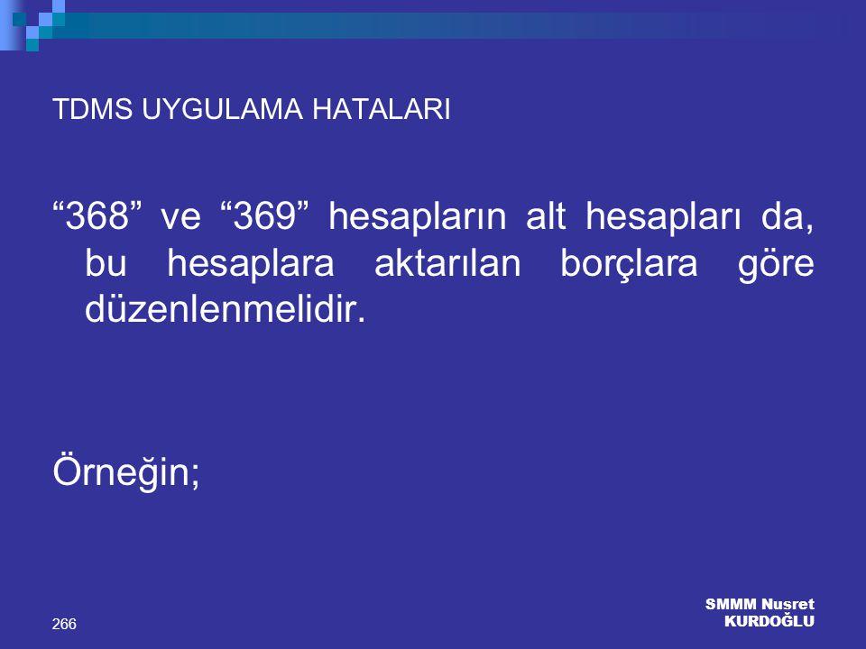 """SMMM Nusret KURDOĞLU 266 TDMS UYGULAMA HATALARI """"368"""" ve """"369"""" hesapların alt hesapları da, bu hesaplara aktarılan borçlara göre düzenlenmelidir. Örne"""