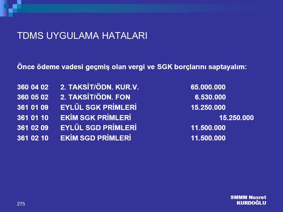 SMMM Nusret KURDOĞLU 275 TDMS UYGULAMA HATALARI Önce ödeme vadesi geçmiş olan vergi ve SGK borçlarını saptayalım: 360 04 02 2. TAKSİT/ÖDN. KUR.V. 65.0