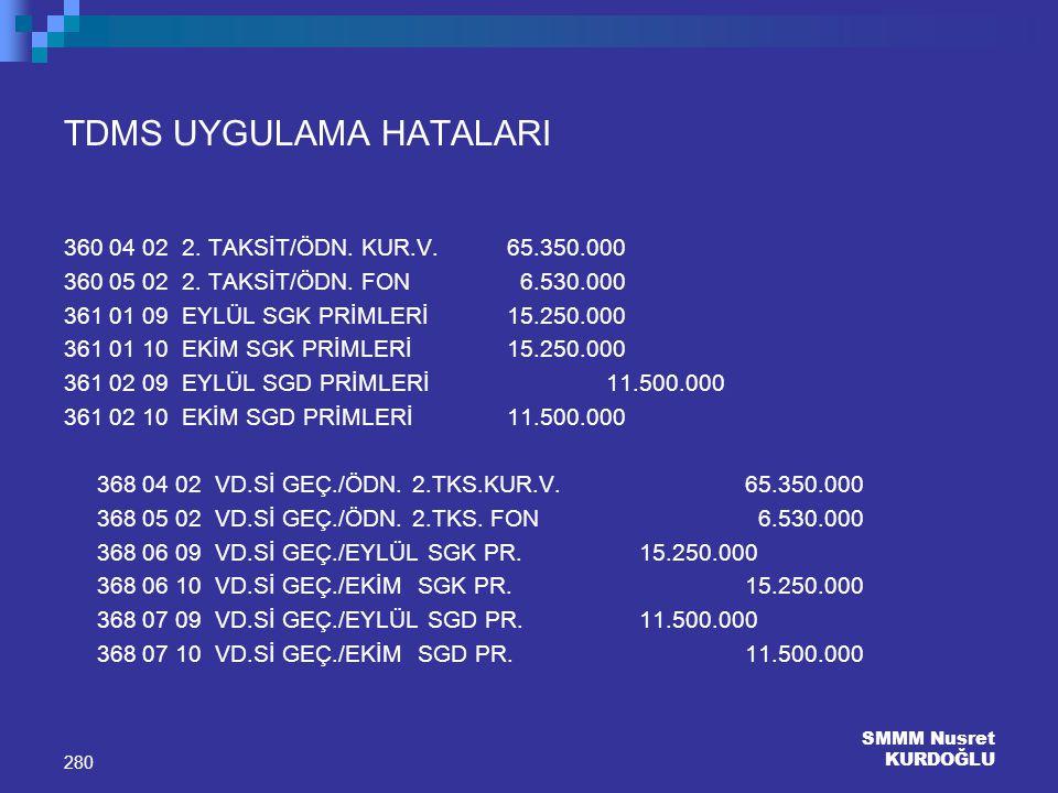 SMMM Nusret KURDOĞLU 280 TDMS UYGULAMA HATALARI 360 04 02 2. TAKSİT/ÖDN. KUR.V. 65.350.000 360 05 02 2. TAKSİT/ÖDN. FON 6.530.000 361 01 09 EYLÜL SGK