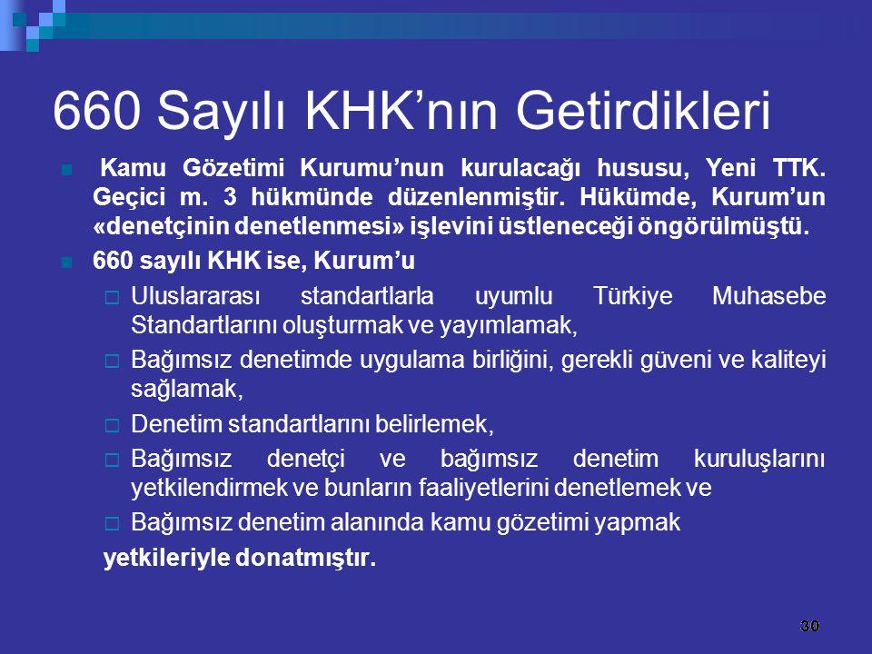30 660 Sayılı KHK'nın Getirdikleri Kamu Gözetimi Kurumu'nun kurulacağı hususu, Yeni TTK. Geçici m. 3 hükmünde düzenlenmiştir. Hükümde, Kurum'un «denet