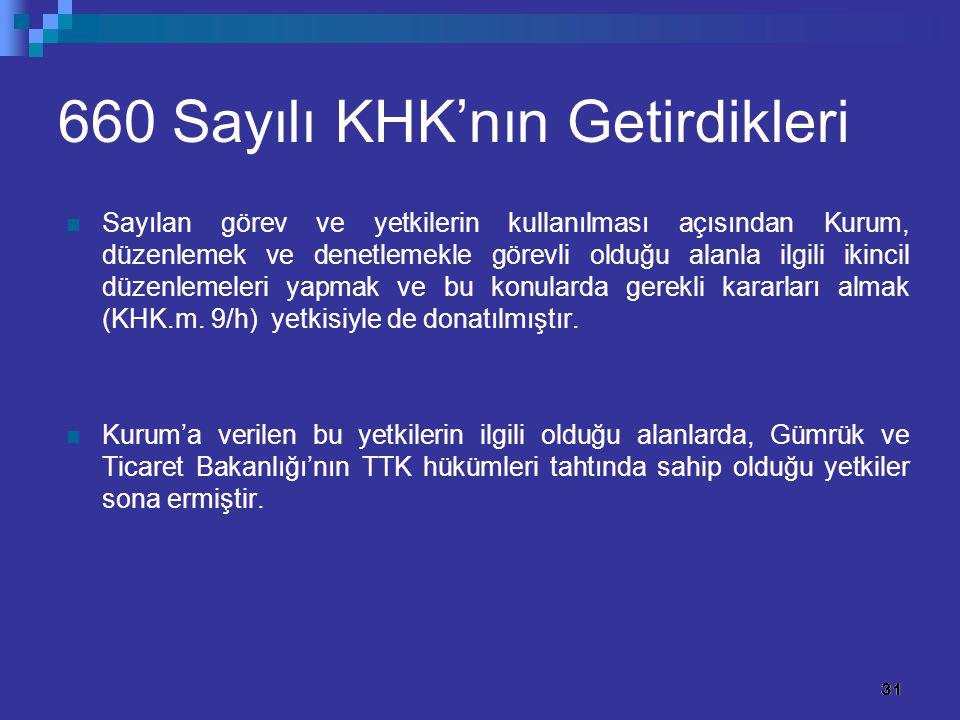31 660 Sayılı KHK'nın Getirdikleri Sayılan görev ve yetkilerin kullanılması açısından Kurum, düzenlemek ve denetlemekle görevli olduğu alanla ilgili i