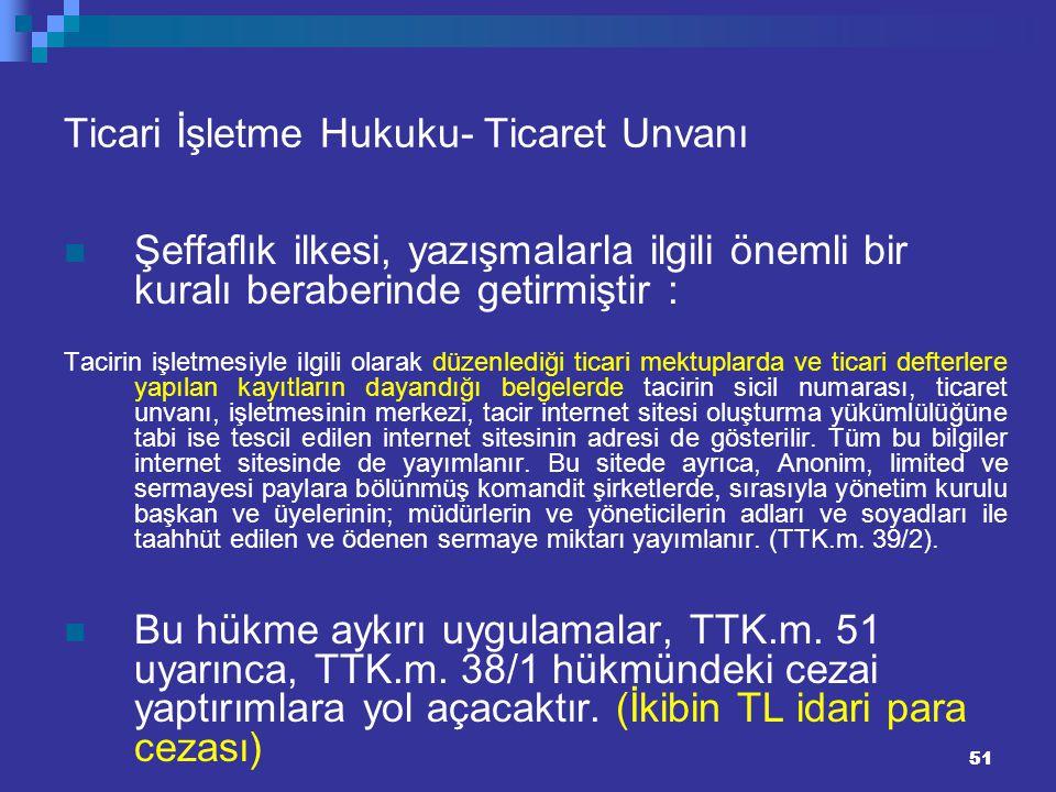 51 Ticari İşletme Hukuku- Ticaret Unvanı Şeffaflık ilkesi, yazışmalarla ilgili önemli bir kuralı beraberinde getirmiştir : Tacirin işletmesiyle ilgili