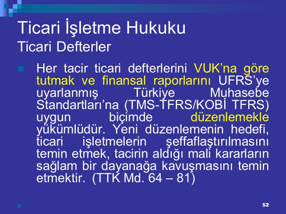 52 Ticari İşletme Hukuku Ticari Defterler Her tacir ticari defterlerini VUK'na göre tutmak ve finansal raporlarını UFRS'ye uyarlanmış Türkiye Muhasebe