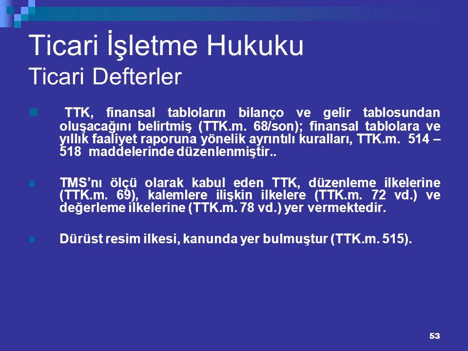 53 Ticari İşletme Hukuku Ticari Defterler TTK, finansal tabloların bilanço ve gelir tablosundan oluşacağını belirtmiş (TTK.m. 68/son); finansal tablol