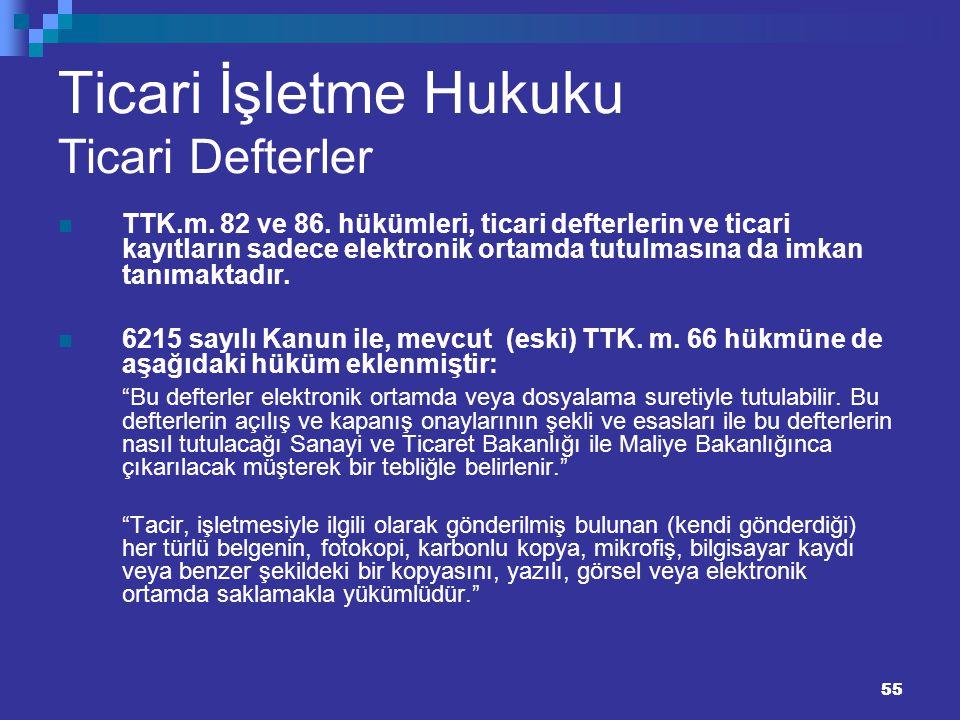55 Ticari İşletme Hukuku Ticari Defterler TTK.m. 82 ve 86. hükümleri, ticari defterlerin ve ticari kayıtların sadece elektronik ortamda tutulmasına da