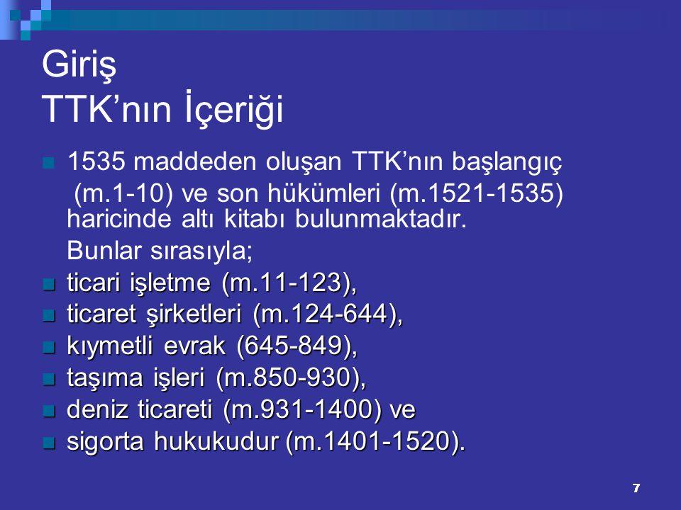 77 Giriş TTK'nın İçeriği 1535 maddeden oluşan TTK'nın başlangıç (m.1-10) ve son hükümleri (m.1521-1535) haricinde altı kitabı bulunmaktadır. Bunlar sı