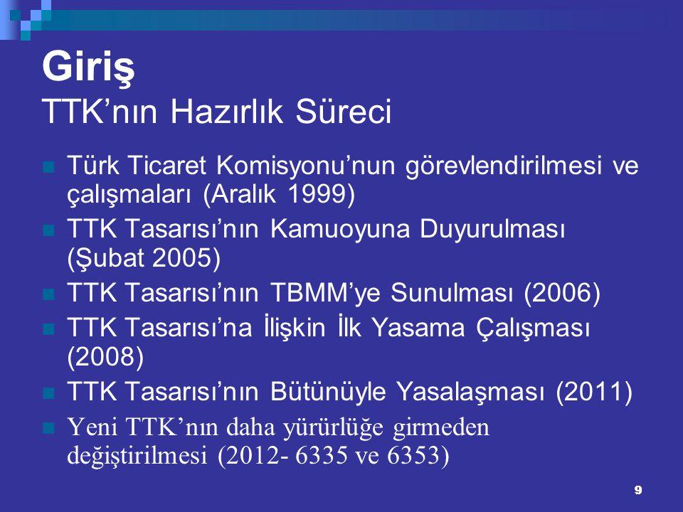 99 Giriş TTK'nın Hazırlık Süreci Türk Ticaret Komisyonu'nun görevlendirilmesi ve çalışmaları (Aralık 1999) TTK Tasarısı'nın Kamuoyuna Duyurulması (Şub