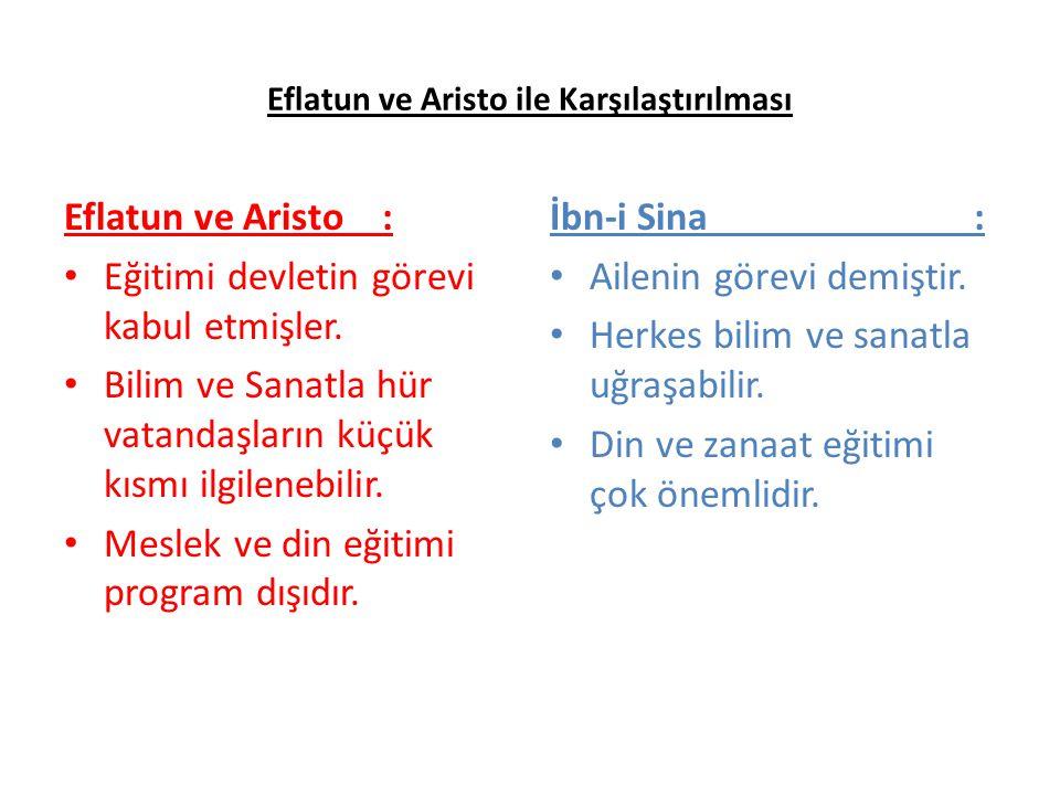 Eflatun ve Aristo ile Karşılaştırılması Eflatun ve Aristo : Eğitimi devletin görevi kabul etmişler. Bilim ve Sanatla hür vatandaşların küçük kısmı ilg