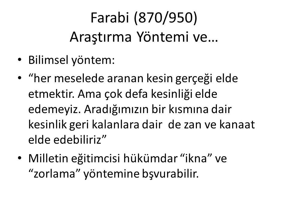 """Farabi (870/950) Araştırma Yöntemi ve… Bilimsel yöntem: """"her meselede aranan kesin gerçeği elde etmektir. Ama çok defa kesinliği elde edemeyiz. Aradığ"""