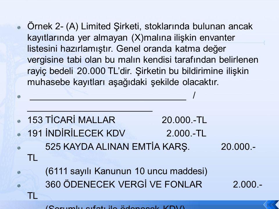  Örnek 2- (A) Limited Şirketi, stoklarında bulunan ancak kayıtlarında yer almayan (X)malına ilişkin envanter listesini hazırlamıştır.