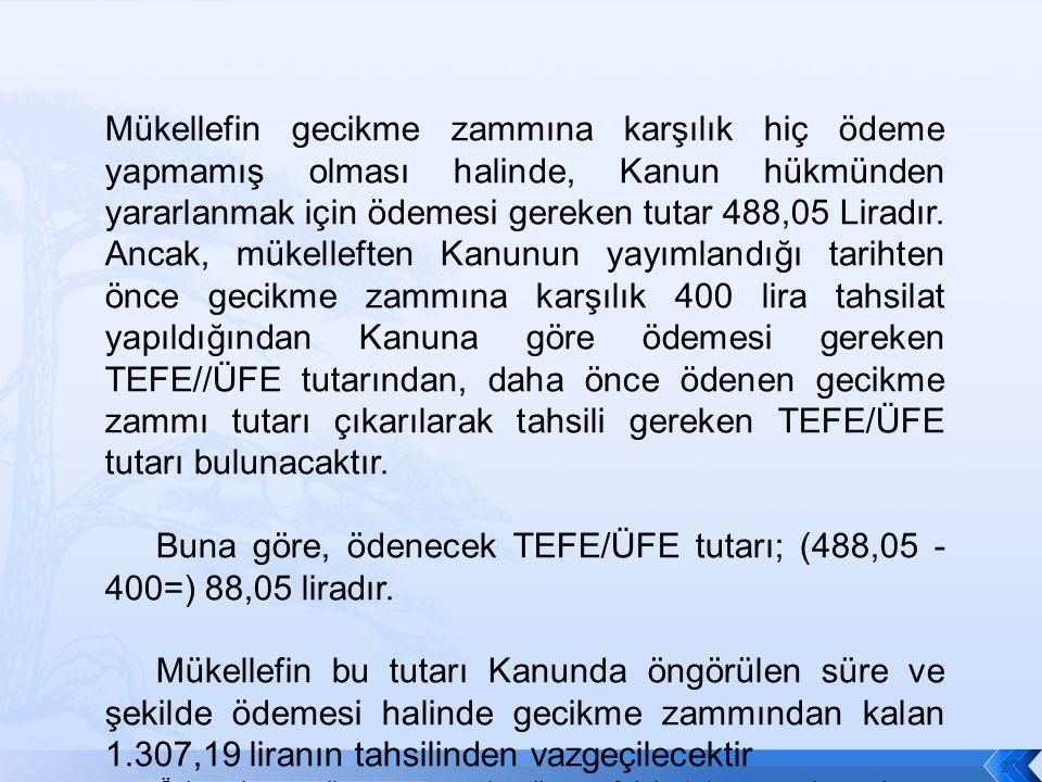 Mükellefin gecikme zammına karşılık hiç ödeme yapmamış olması halinde, Kanun hükmünden yararlanmak için ödemesi gereken tutar 488,05 Liradır.