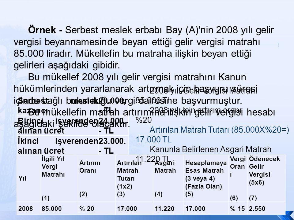 Serbest meslek kazancı 20.000, - TL Birinci işverenden alınan ücret 24.000.