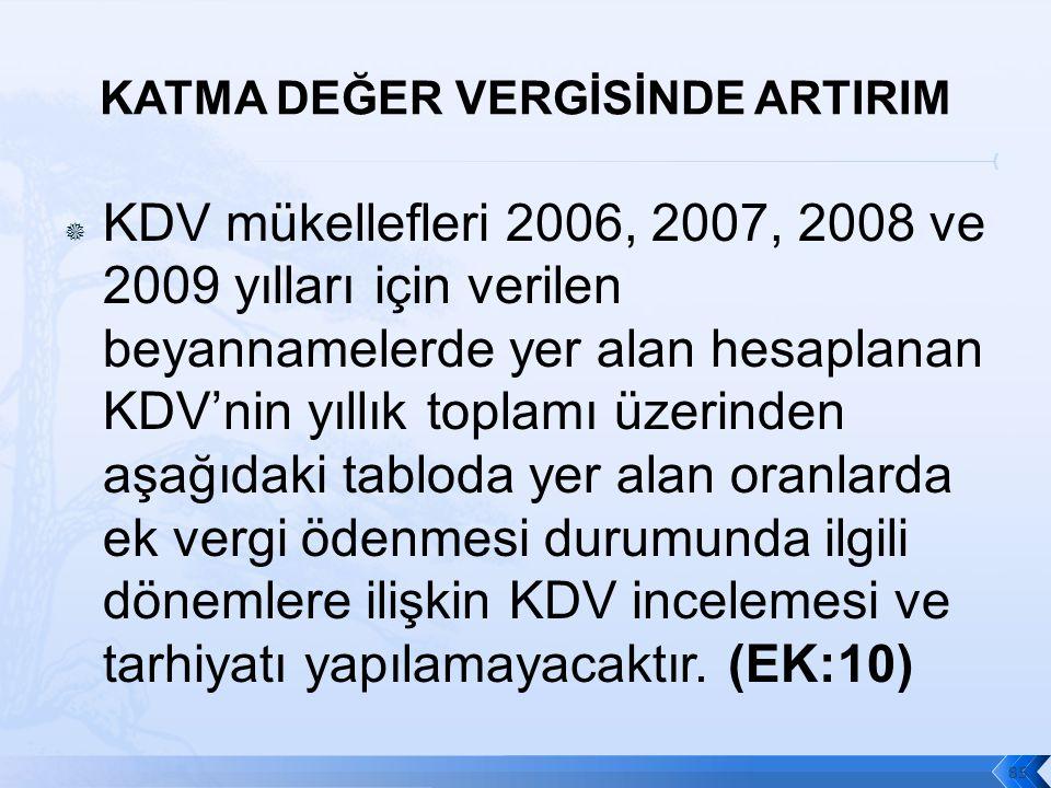  KDV mükellefleri 2006, 2007, 2008 ve 2009 yılları için verilen beyannamelerde yer alan hesaplanan KDV'nin yıllık toplamı üzerinden aşağıdaki tabloda yer alan oranlarda ek vergi ödenmesi durumunda ilgili dönemlere ilişkin KDV incelemesi ve tarhiyatı yapılamayacaktır.