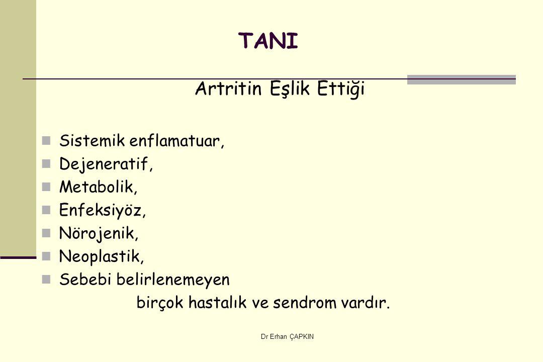 Dr Erhan ÇAPKIN TANI Artritin Eşlik Ettiği Sistemik enflamatuar, Dejeneratif, Metabolik, Enfeksiyöz, Nörojenik, Neoplastik, Sebebi belirlenemeyen birçok hastalık ve sendrom vardır.