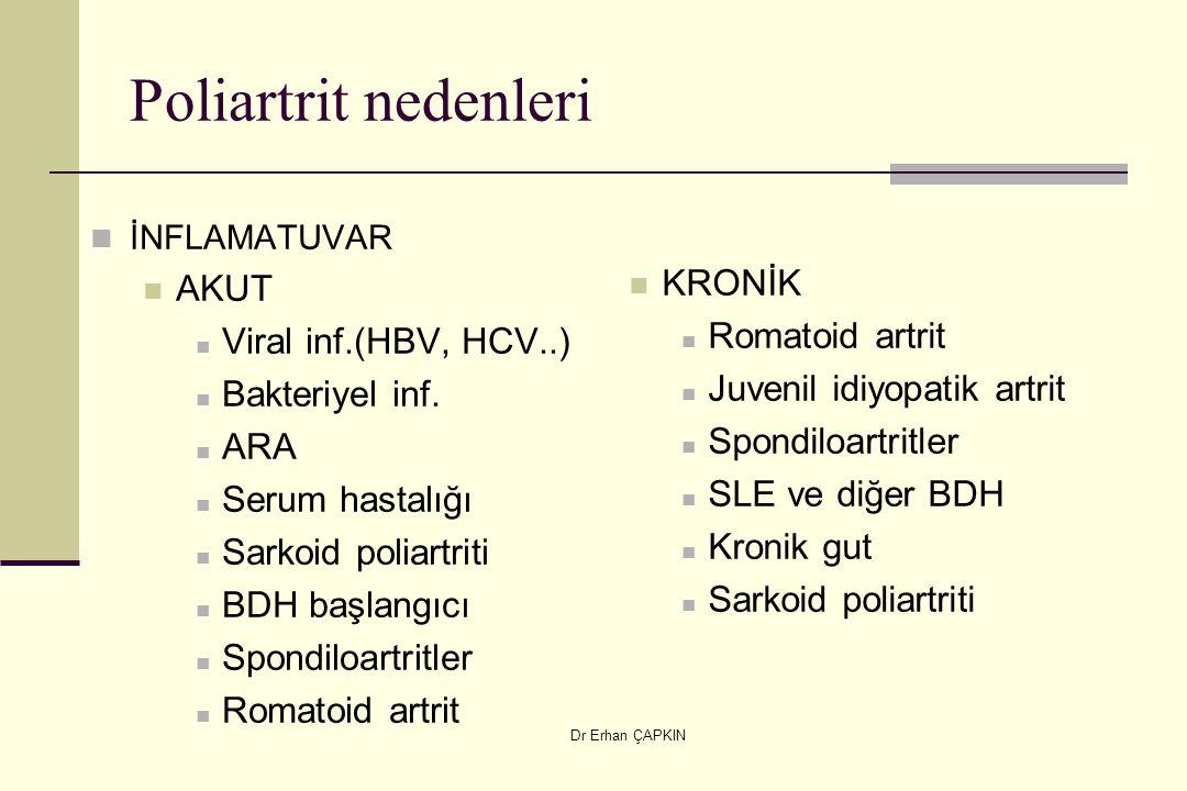 Dr Erhan ÇAPKIN Poliartrit nedenleri İNFLAMATUVAR AKUT Viral inf.(HBV, HCV..) Bakteriyel inf. ARA Serum hastalığı Sarkoid poliartriti BDH başlangıcı S