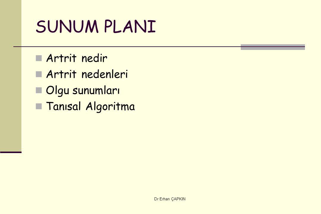 Dr Erhan ÇAPKIN SUNUM PLANI Artrit nedir Artrit nedenleri Olgu sunumları Tanısal Algoritma