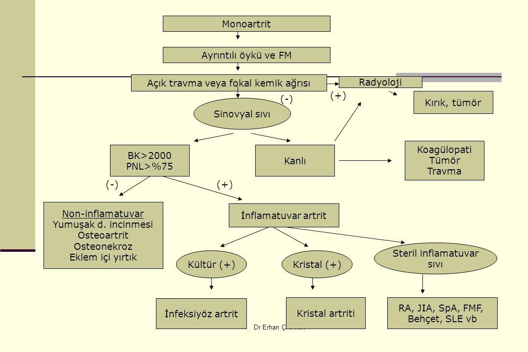 Dr Erhan ÇAPKIN Monoartrit Ayrıntılı öykü ve FM Açık travma veya fokal kemik ağrısı Sinovyal sıvı BK>2000 PNL>%75 Kanlı Koagülopati Tümör Travma Non-inflamatuvar Yumuşak d.