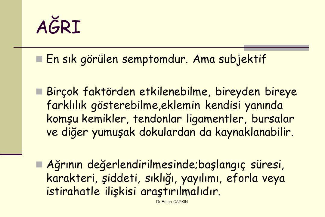 Dr Erhan ÇAPKIN AĞRI En sık görülen semptomdur.