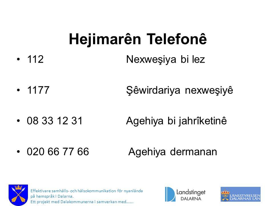 Hejimarên Telefonê 112 Nexweşiya bi lez 1177 Şêwirdariya nexweşiyê 08 33 12 31 Agehiya bi jahrîketinê 020 66 77 66 Agehiya dermanan Effektivare samhälls- och hälsokommunikation för nyanlända på hemspråk i Dalarna.