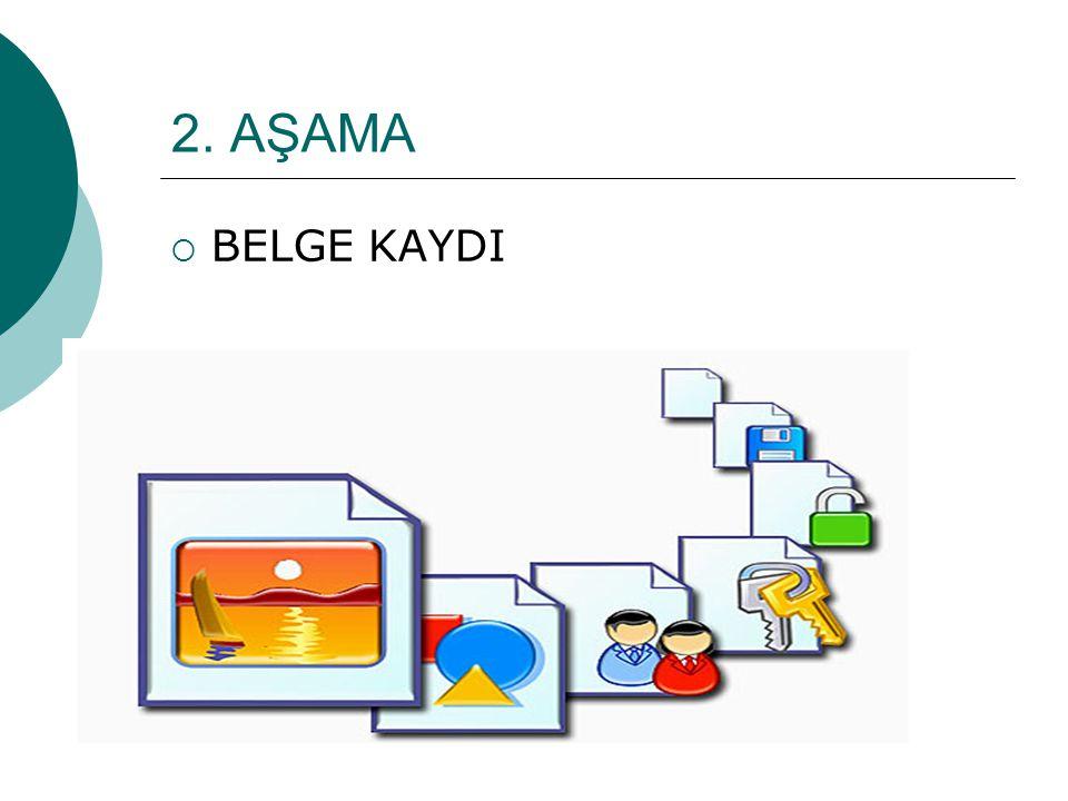2. AŞAMA  BELGE KAYDI
