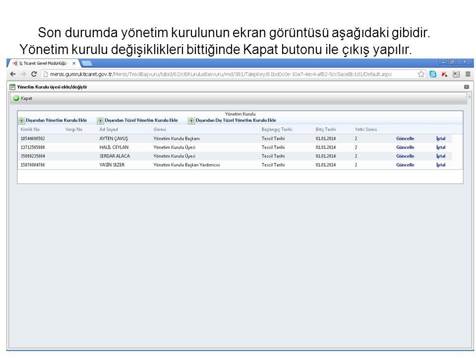 Son durumda yönetim kurulunun ekran görüntüsü aşağıdaki gibidir.