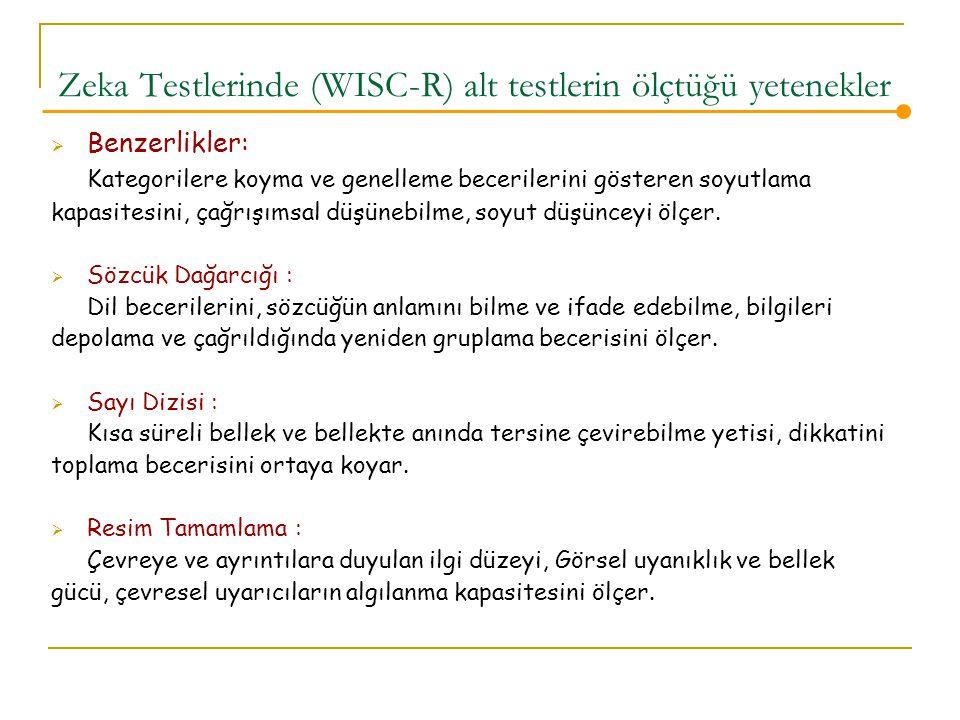 Zeka Testlerinde (WISC-R) alt testlerin ölçtüğü yetenekler  Benzerlikler: Kategorilere koyma ve genelleme becerilerini gösteren soyutlama kapasitesini, çağrışımsal düşünebilme, soyut düşünceyi ölçer.