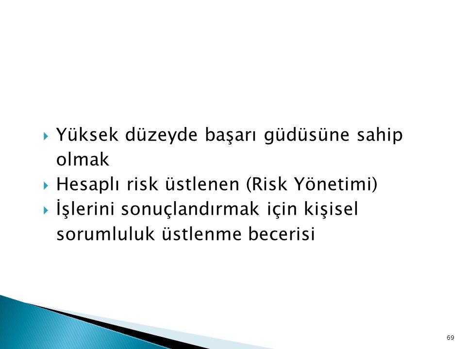  Yüksek düzeyde başarı güdüsüne sahip olmak  Hesaplı risk üstlenen (Risk Yönetimi)  İşlerini sonuçlandırmak için kişisel sorumluluk üstlenme beceri