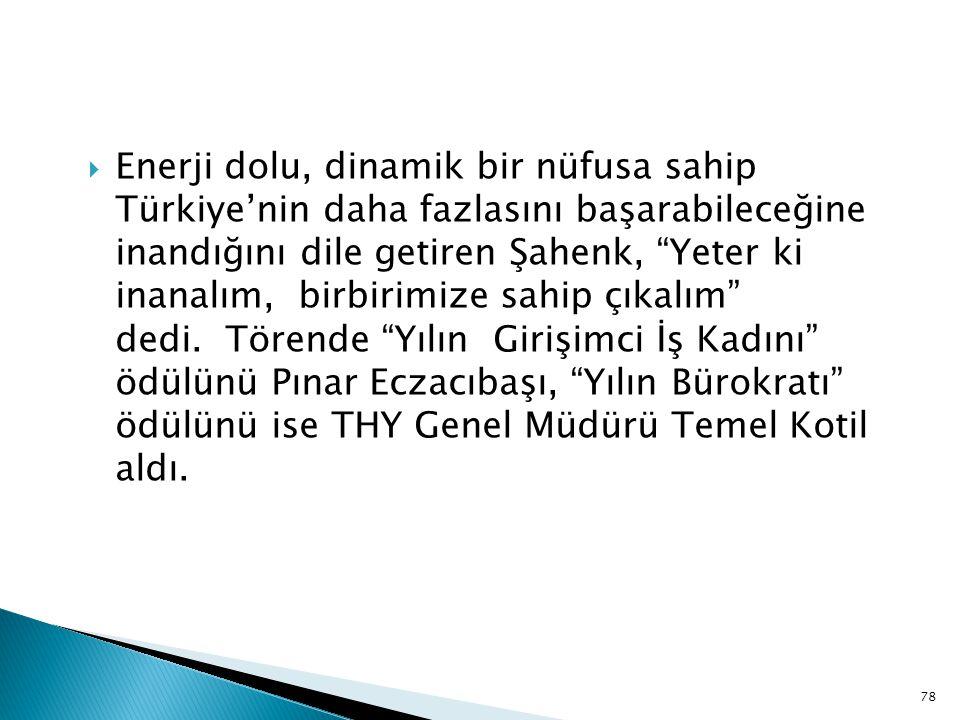 """ Enerji dolu, dinamik bir nüfusa sahip Türkiye'nin daha fazlasını başarabileceğine inandığını dile getiren Şahenk, """"Yeter ki inanalım, birbirimize sa"""