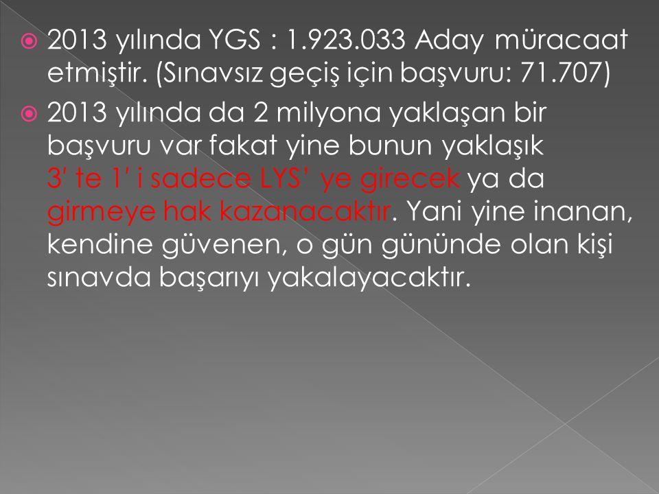  2013 yılında YGS : 1.923.033 Aday müracaat etmiştir. (Sınavsız geçiş için başvuru: 71.707)  2013 yılında da 2 milyona yaklaşan bir başvuru var faka