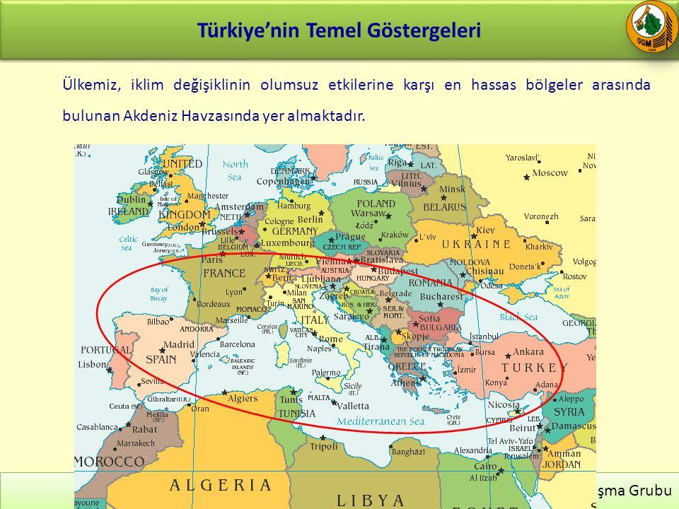 Türkiye'nin Temel Göstergeleri 21 İklim Değişikliği ve Biyoenerji Çalışma Grubu Ülkemiz, iklim değişiklinin olumsuz etkilerine karşı en hassas bölgeler arasında bulunan Akdeniz Havzasında yer almaktadır.