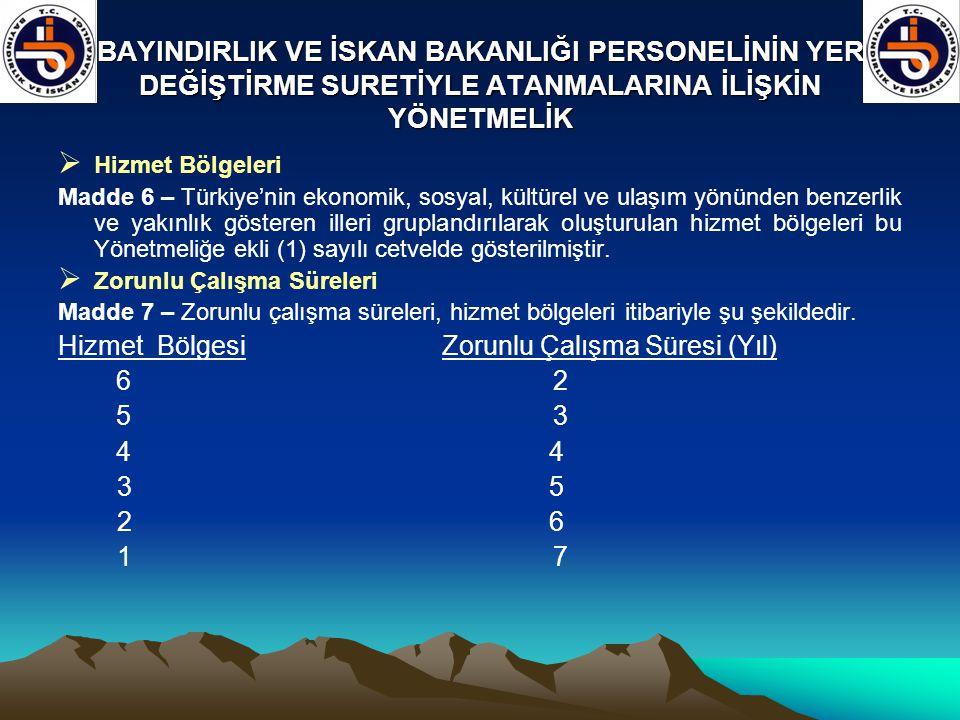 BAYINDIRLIK VE İSKAN BAKANLIĞI PERSONELİNİN YER DEĞİŞTİRME SURETİYLE ATANMALARINA İLİŞKİN YÖNETMELİK  Hizmet Bölgeleri Madde 6 – Türkiye'nin ekonomik