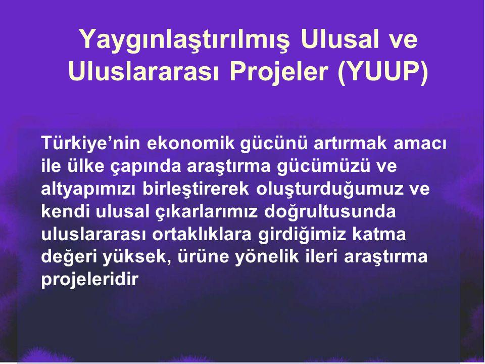 Yaygınlaştırılmış Ulusal ve Uluslararası Projeler (YUUP) Türkiye'nin ekonomik gücünü artırmak amacı ile ülke çapında araştırma gücümüzü ve altyapımızı