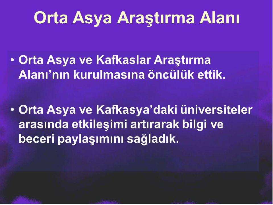 Orta Asya ve Kafkaslar Araştırma Alanı'nın kurulmasına öncülük ettik. Orta Asya ve Kafkasya'daki üniversiteler arasında etkileşimi artırarak bilgi ve