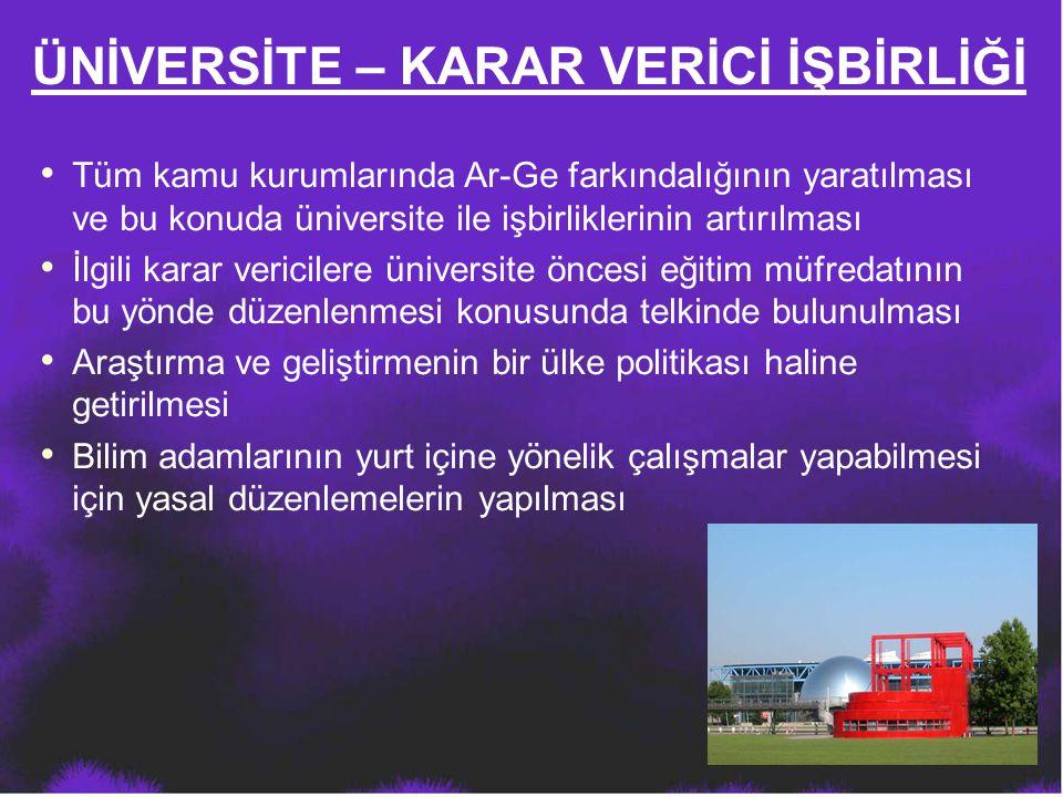 ÜNİVERSİTE – KARAR VERİCİ İŞBİRLİĞİ Tüm kamu kurumlarında Ar-Ge farkındalığının yaratılması ve bu konuda üniversite ile işbirliklerinin artırılması İl