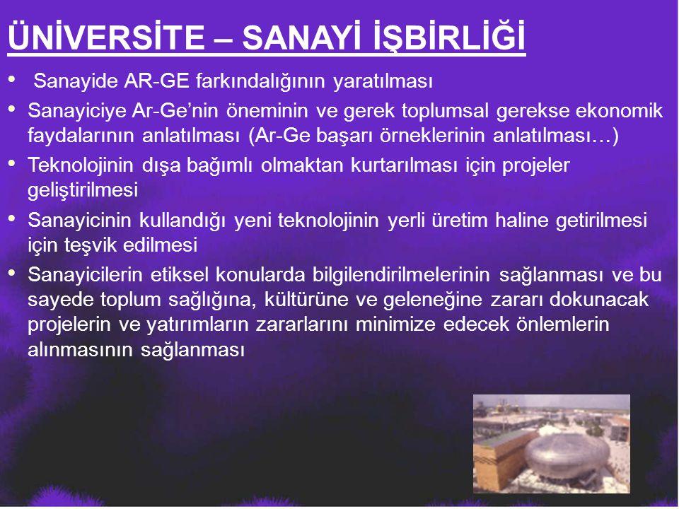 Sanayide AR-GE farkındalığının yaratılması Sanayiciye Ar-Ge'nin öneminin ve gerek toplumsal gerekse ekonomik faydalarının anlatılması (Ar-Ge başarı ör