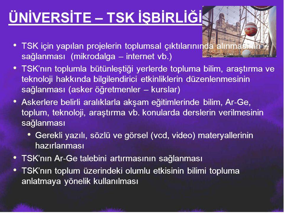 ÜNİVERSİTE – TSK İŞBİRLİĞİ TSK için yapılan projelerin toplumsal çıktılarınında alınmasının sağlanması (mikrodalga – internet vb.) TSK'nın toplumla bü
