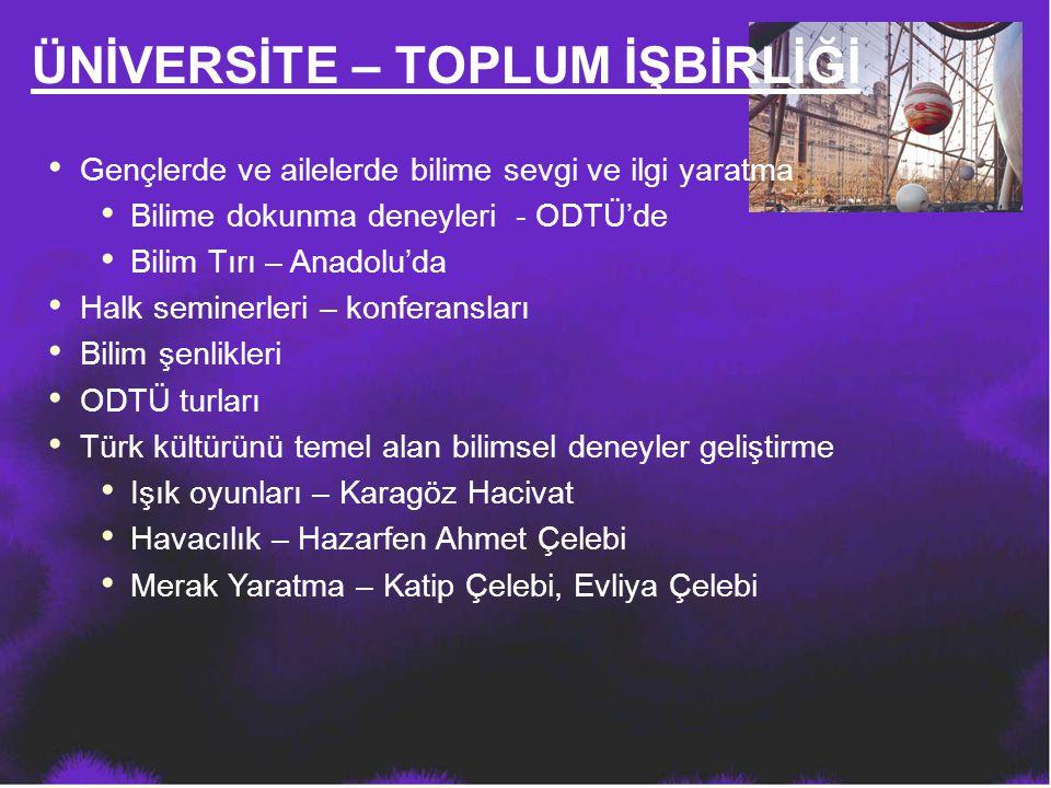 ÜNİVERSİTE – TOPLUM İŞBİRLİĞİ Gençlerde ve ailelerde bilime sevgi ve ilgi yaratma Bilime dokunma deneyleri - ODTÜ'de Bilim Tırı – Anadolu'da Halk semi