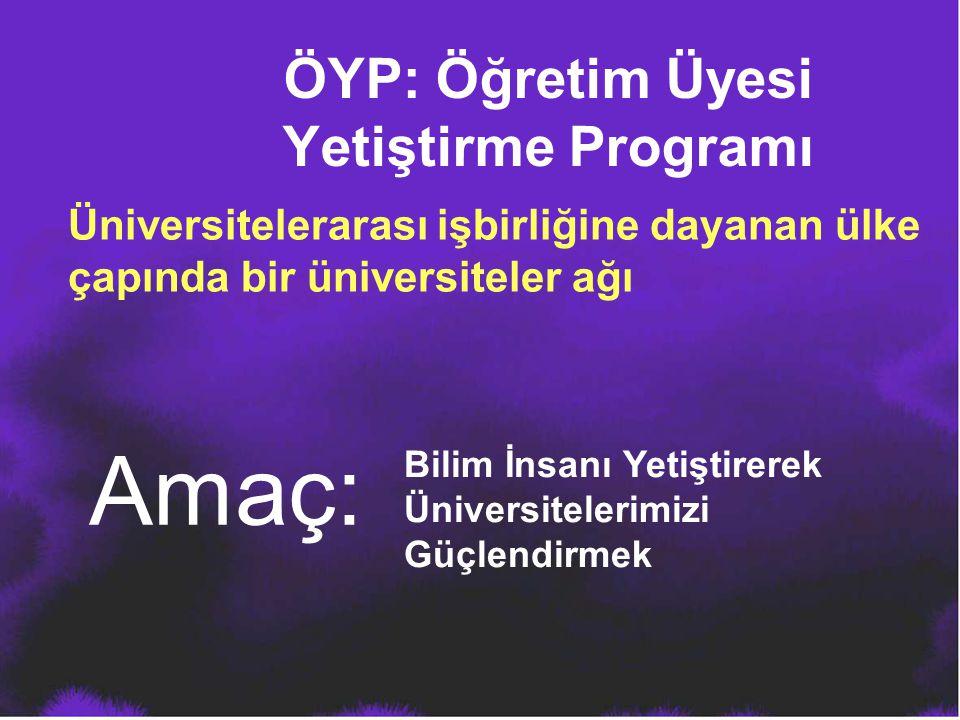 ÖYP: Öğretim Üyesi Yetiştirme Programı Üniversitelerarası işbirliğine dayanan ülke çapında bir üniversiteler ağı Amaç: Bilim İnsanı Yetiştirerek Ünive