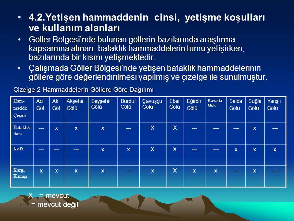4.2.Yetişen hammaddenin cinsi, yetişme koşulları ve kullanım alanları Göller Bölgesi'nde bulunan göllerin bazılarında araştırma kapsamına alınan batak